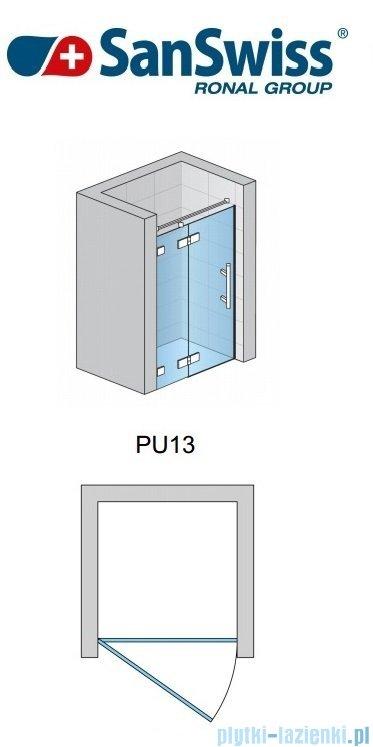 SanSwiss Pur PU13 Drzwi 1-częściowe wymiar specjalny profil chrom szkło Efekt lustrzany Lewe PU13GSM11053