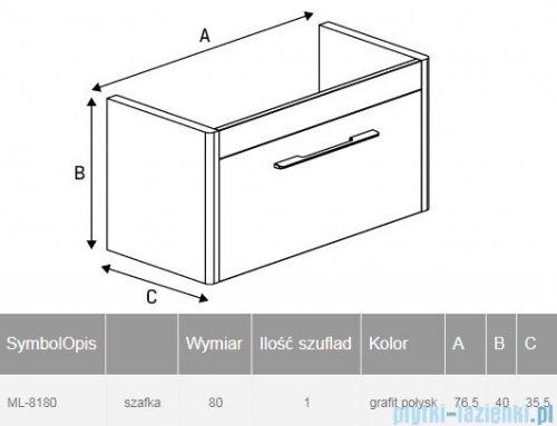 New Trendy Vito szafka umywalkowa 80 cm grafit połysk ML-8180