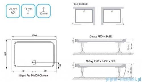 Ravak Brodzik Gigant Pro Chrome 120x80 biały konglomerat marmurowy XA04G401010