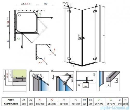 Radaway Essenza New Kdd kabina 90x80cm szkło przejrzyste 385060-01-01L/385061-01-01R