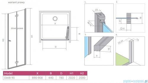 Radaway Fuenta New Dwb drzwi wnękowe 90cm prawe szkło przejrzyste 384076-01-01R