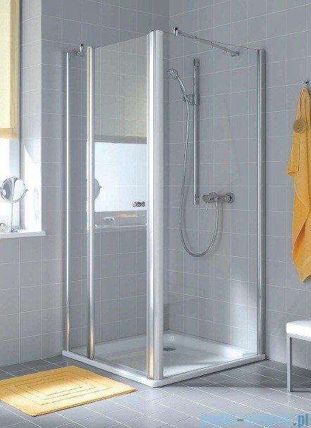 Kermi Atea Drzwi wahadłowe jednoskrzydłowe z polem stałym, prawe, szkło przezroczyste, profile białe 80cm AT1GR080182AK