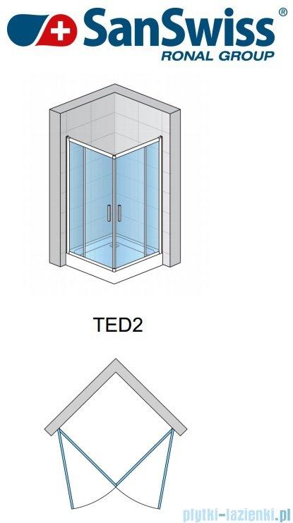 SanSwiss Top-Line Ted2 Wejście narożne 80cm profil połysk Lewe TED2G08005007