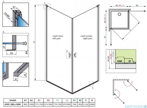 Radaway Nes Black Kdd I Frame kabina 80x100cn rysunek techniczny