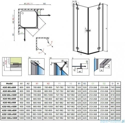Radaway Essenza New Kdd kabina 90cm część lewa szkło przejrzyste 385060-01-01L
