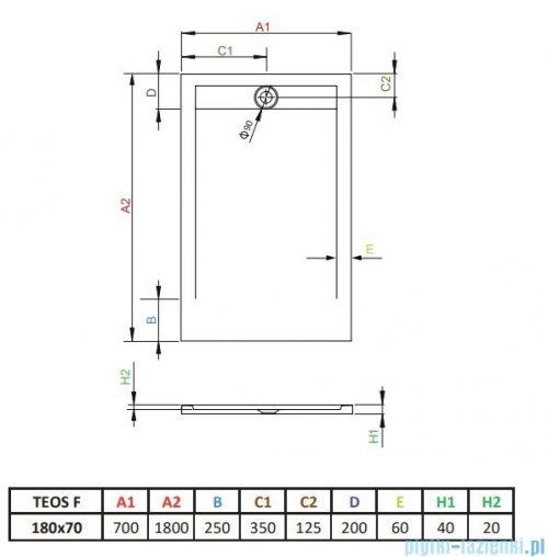 Radaway Teos F brodzik 180x70cm biały HTF18070-04