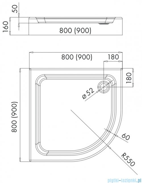 Omnires Invest Project brodzik półokrągły zintegrowany z obudową 80x80x16 cm InvestProject80