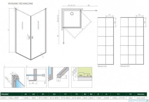 Radaway Nes Black Kdd I Factory kabina 100x90cm rysunek techniczny