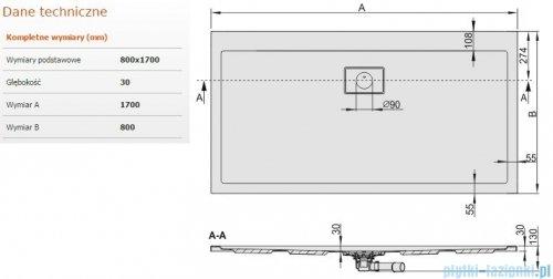 Sanplast Space Line brodzik prostokątny 170x80x3cm+syfon 615-110-0290-01-000