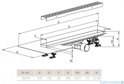 Radaway Slim Steel odpływ liniowy 75x6cm 5L075S/5R075SS