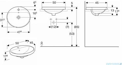 Koło Variform umywalka wpuszczana w blat 50x45cm 500.712.01.6