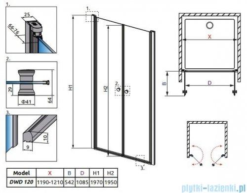 Radaway Eos DWD Drzwi wnękowe 120 szkło przejrzyste + brodzik Doros D + syfon 37773-01-01N