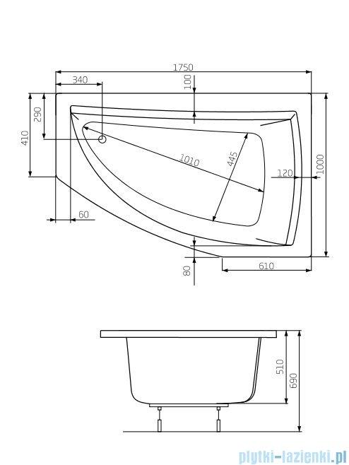 Roca Aquamarina wanna 175x100cm prawa z hydromasażem Smart WaterAir Plus A24T245000