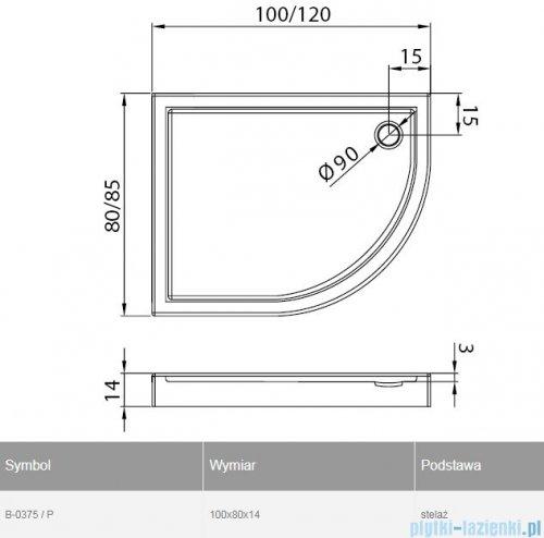 New Trendy New Maxima brodzik asymetryczny 100x80x14cm prawy B-0375/P