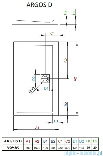 Radaway Brodzik prostokątny Argos D 100x80x5,5 cm 4AD810-01