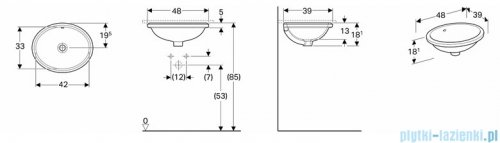 Koło Variform umywalka podblatowa 42x39cm 500.748.01.6