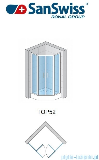SanSwiss Top-Line Pięciokątna kabina prysznicowa TOP52 z drzwiami otwieranymi 100x100cm przejrzyste/połysk TOP5270805007