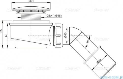 Alcaplast zestaw odpływowy brodzikowy Ø60 chrom A471CR-60