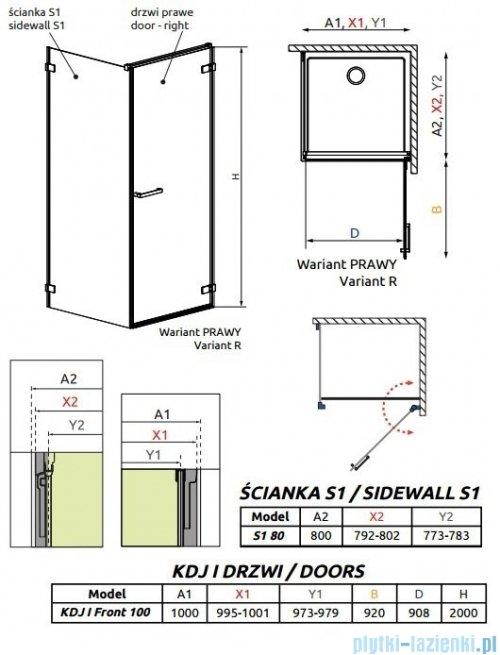 Radaway Arta Kdj I kabina 100x80cm prawa szkło przejrzyste + brodzik Doros D + syfon