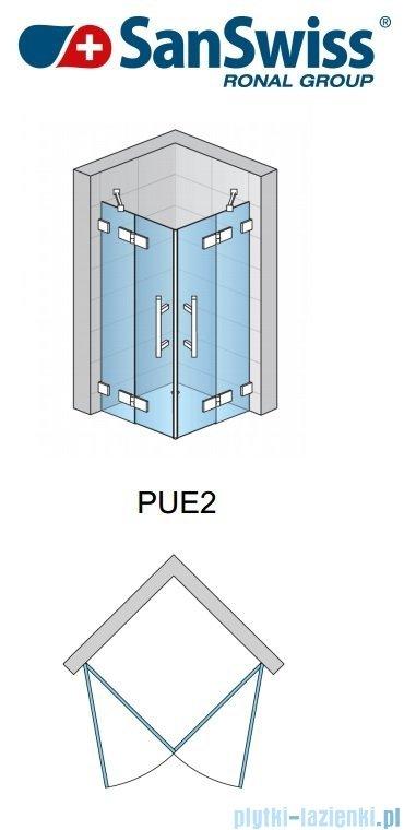 SanSwiss Pur PUE2P Wejście narożne 2-częściowe 75cm profil chrom szkło przejrzyste Lewe PUE2PG0751007