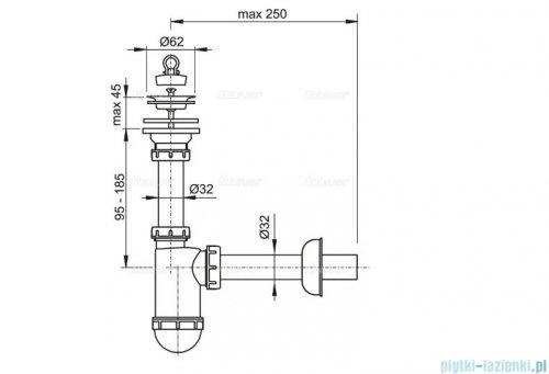 Alcaplast syfon umywalkowy DN32, sitko nierdzewne DN63 A411