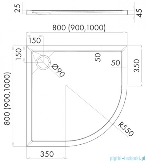 Schedpol Schedline Estima brodzik półokrągły 80x80x4,5cm 3SP.E2O-8080
