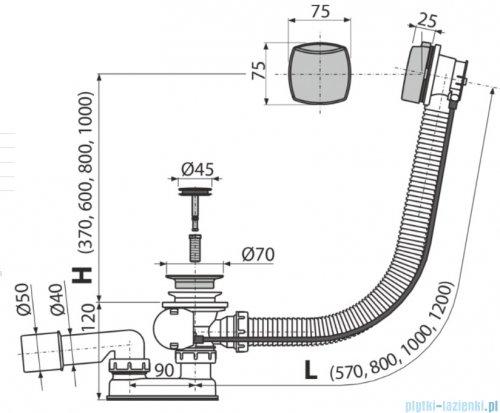 Alcaplast  syfon wannowy automatyczny chrom A553K