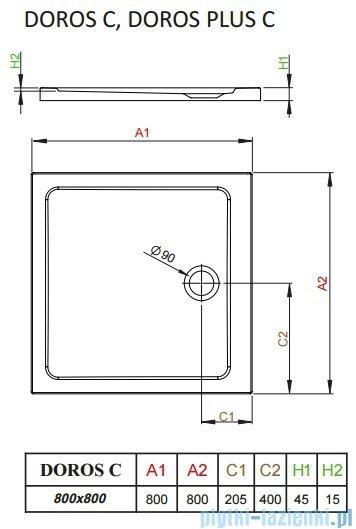 Radaway Fuenta New Kdj kabina 80x80cm prawa szkło przejrzyste + brodzik Doros C + syfon