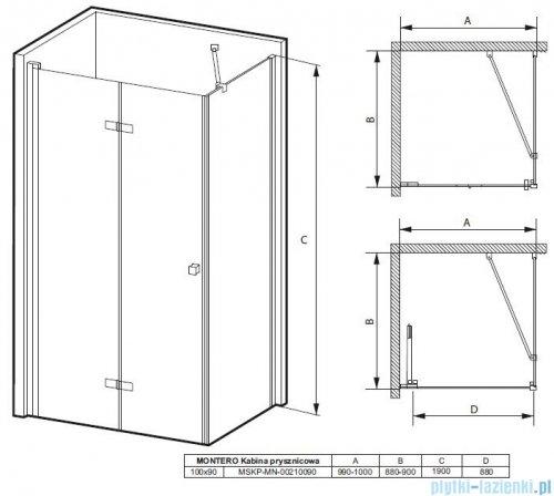 Massi Montero kabina prostokątna bifold 100x90x190cm przejrzyste MSKP-MN-00210090