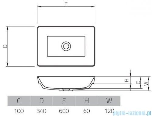 Vayer Citizen Vela-B 60x34cm umywalka blatowa prostokątna