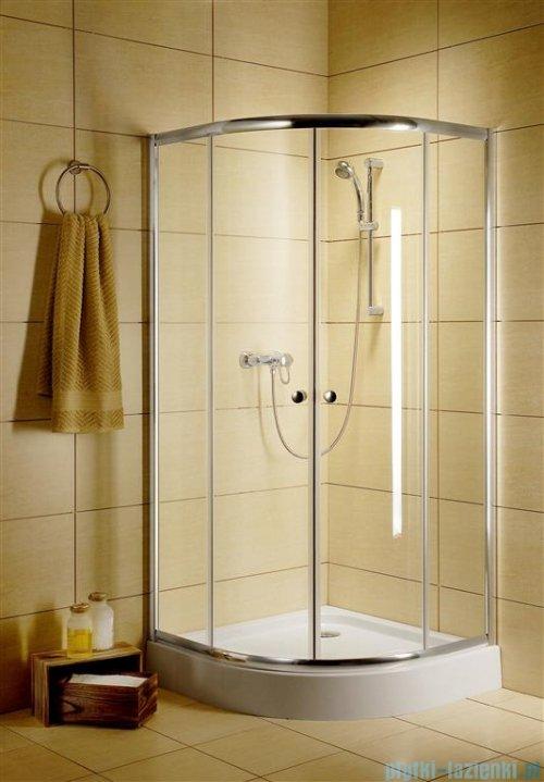 Radaway Classic A Kabina prysznicowa półokrągła z drzwiami przesuwnymi 90x90x185 szkło fabric profile białe