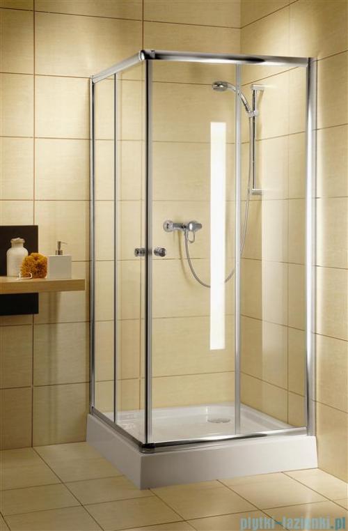 Radaway Classic C Kabina prysznicowa kwadratowa z drzwiami przesuwnymi 80x80 szkło fabric profile białe