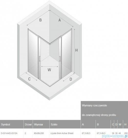 New Trendy Prime Black kabina kwadratowa 90x90x200 cm przejrzyste D-0314A/D-0315A