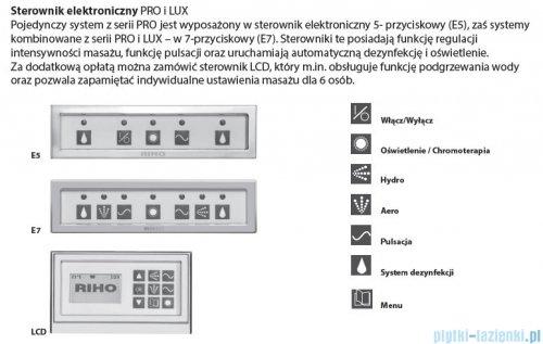 Riho Lugo wanna prostokątna 190x80 z hydromasażem PRO Hydro 6+4+2/Aero 11 BT04P7