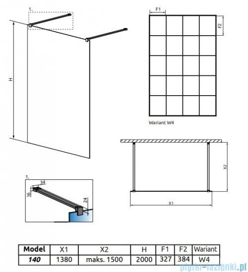 Radaway Modo X Black I Factory kabina Walk-in 140x200 szkło 10mm 388344-54-57