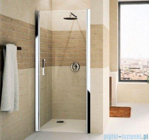 Novellini Drzwi do wnęki uchylne GIADA 1B 84 cm prawe szkło przejrzyste profil srebrny GIADN1B84D-1B