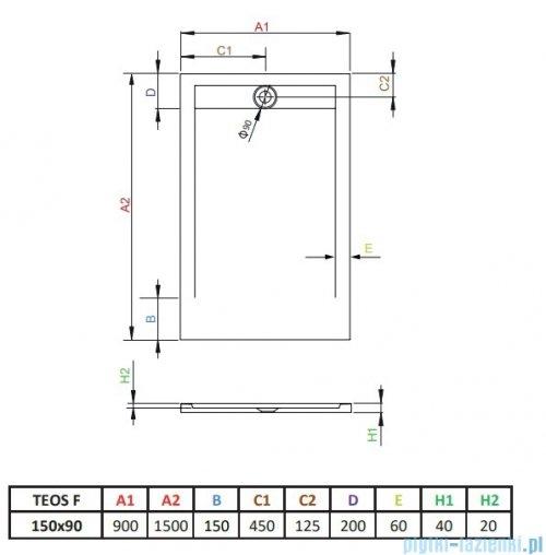 Radaway Teos F brodzik 150x90cm antracyt HTF15090-64