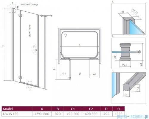 Radaway Torrenta Dwjs drzwi wnękowe 180 lewe szkło przejrzyste 320812-01-01L/320443-01-01