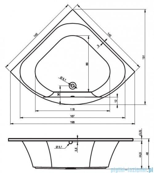 Riho Atlanta wanna symetryczna 140x140 z hydromasażem Hit Hydro 6+4+2/Aero19 BB70H3