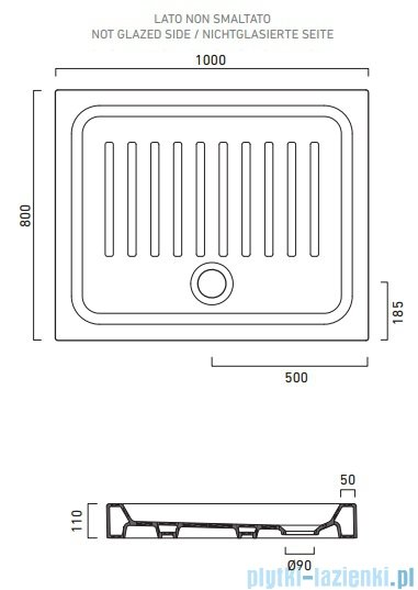 Catalano Base brodzik 100x80x10 cm ceramiczny biały 18010000