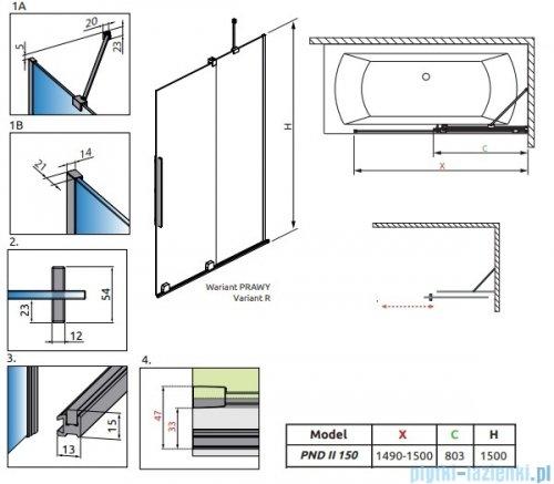 Radaway Furo Black PND II parawan nawannowy 150cm prawy szkło przejrzyste 10109788-54-01R/10112744-01-01