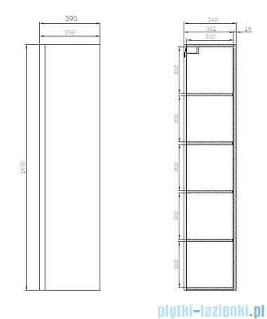 Cersanit Moduo szafka wisząca 160x40 cm biała S929-020