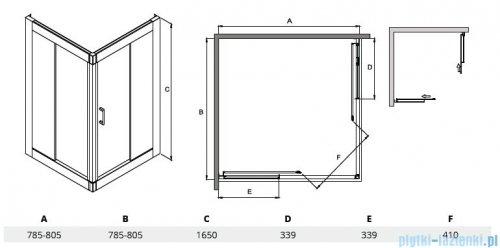 Besco Modern kabina kwadratowa 80x80x165cm grafit MK-80-165-G