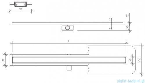 Wiper Premium Slim Ponente odpływ liniowy 110 cm z kołnierzem rysunek techniczny