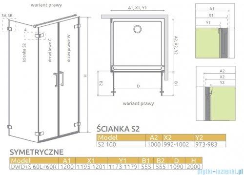 Radaway Arta Dwd+s kabina 120x100cm prawa szkło przejrzyste 386184-03-01R/386059-03-01L/386112-03-01