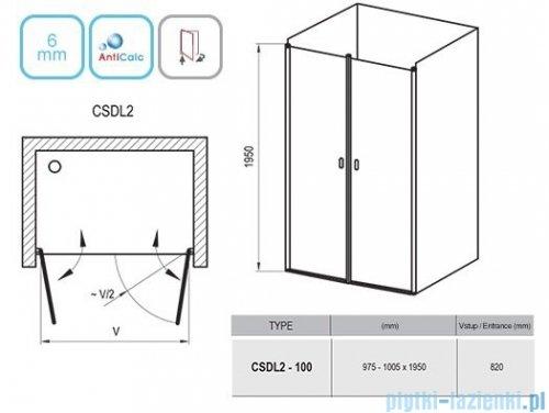 Ravak Chrome CSDL2 drzwi prysznicowe 100cm białe transparent 0QVAC10LZ1