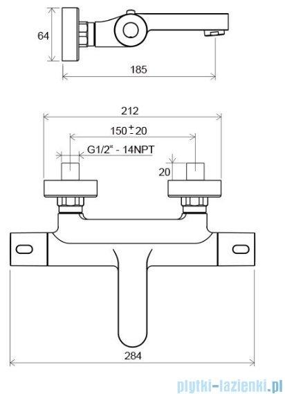 Ravak Termo bateria wannowa ścienna termostatyczna X070097