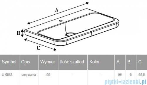 New Trendy umywalka ceramiczna z otworem na baterię 95 cm U-0083
