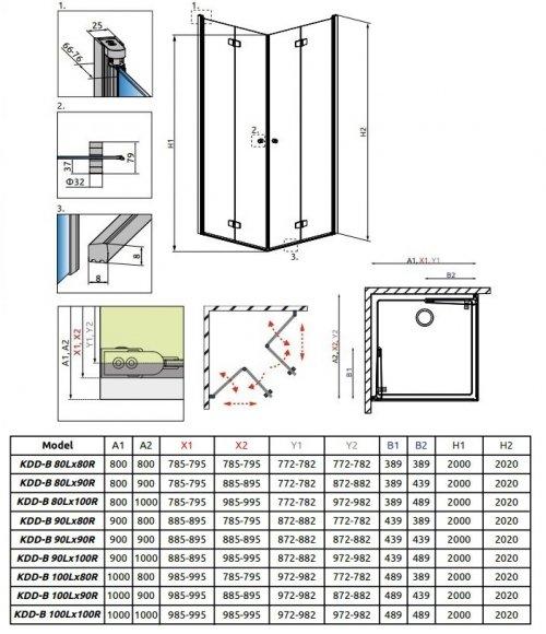 Radaway Fuenta New Kdd-B kabina 100cm część prawa szkło przejrzyste 384072-01-01R