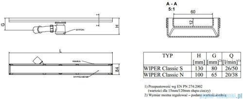 Wiper Odpływ liniowy Classic Pure 90cm bez kołnierza szlif PU900SCS100